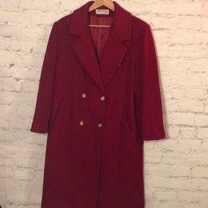 FORECASTER OF BOSTON RED 100% WOOL LONG DRESS COAT